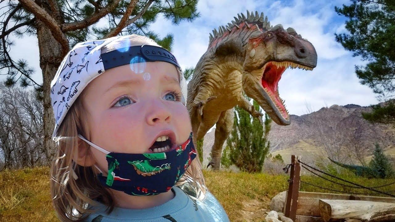 Niko explores JURASSiC PARK!!  Adley finds buried Dinosaur Bones! and brave Doctor visit for shots!