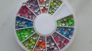 Маникюр. Дизайн для ногтей. Неоновые разноцветные камни (Aliexpress)