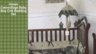 Green Camouflage Baby Boy Crib Bedding Set
