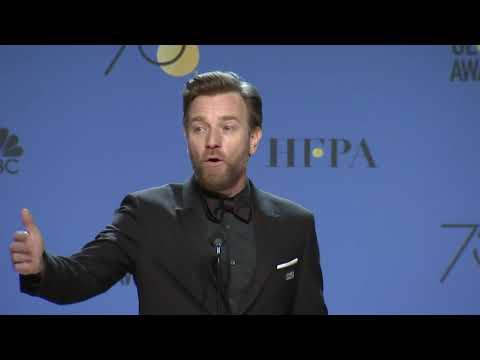 Ewan McGregor on reprising 'ObiWan Kenobi' role   2018 Golden Globes  Full Backstage Speech