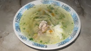 Суп лапша домашняя(Сегодня приготовим суп лапша домашняя.Сначала приготовим куриный бульон, затем запустим в бульон мелко..., 2013-09-24T14:10:34.000Z)