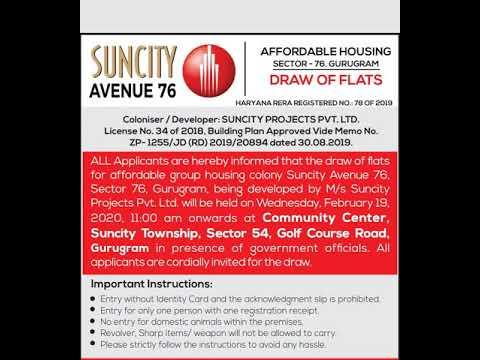 Suncity Avenue 76 Draw Result Draw Date updates. Suncity affordable housing Sector 76 Gurgaon. Suncity Avenue 76 Sector 76 Gurgaon.