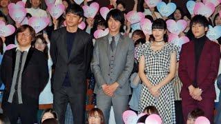 俳優の福士蒼汰、東出昌大、山田裕貴、女優の小松菜奈(20)が23日、都...