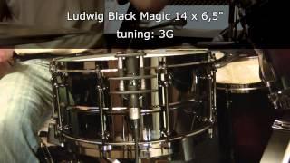 Ludwig Black Magic 14 x 6.5 snare drum tuning range