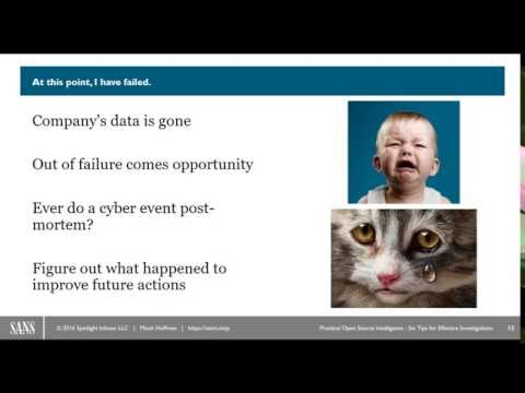 SANS Webcast: Practical OSINT - Six Tips for Starting an Effective Investigation