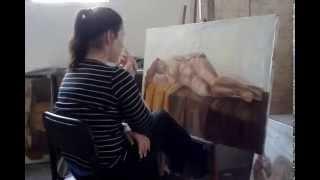 Как нарисовать голую тетку??))(Заснял на телефон как девушка рисует живопись - голую женщину!!, 2015-06-04T05:11:13.000Z)