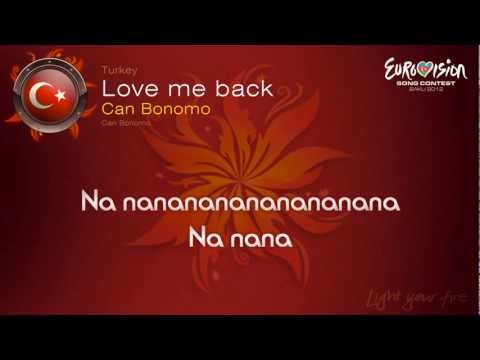 Can Bonomo -  Love Me Back  (Turkey) - Eurovision Song Contest 2012 - on screen lyrics (HD)