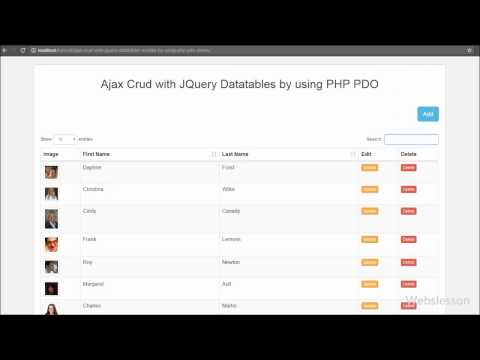 Ajax Crud with JQuery Datatables by using PHP PDO