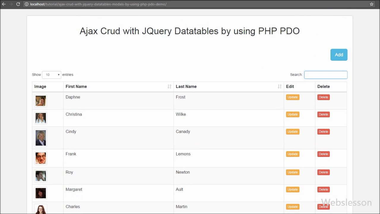 PHP PDO Ajax CRUD with Data Tables and Bootstrap Modals | Webslesson