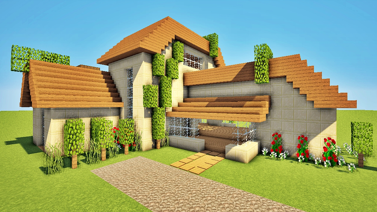 Minecraft comment faire une maison moderne comtemporaine for Plan maison minecraft moderne