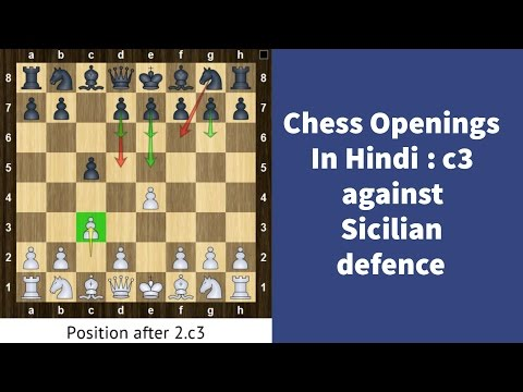Chess Openings in Hindi for white : Play c3/Alapin against Sicilian (in Hindi) - Basics