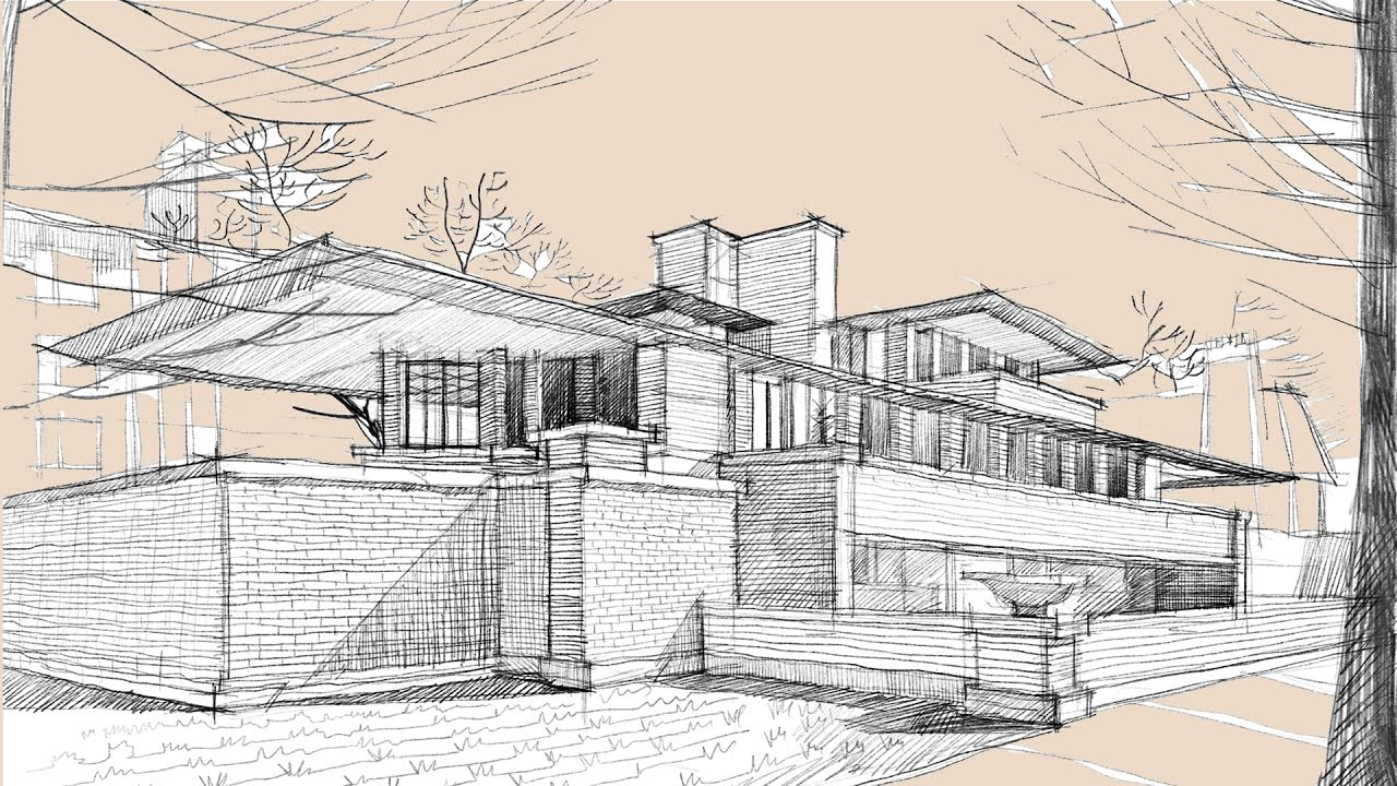 Architecture Drawing Ipad architecture sketch #003 robie housefrank lloyd wright (with