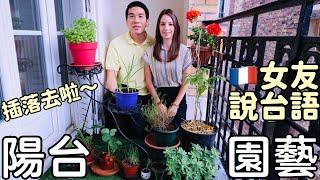 【台語好趣味】法國女友說台語 ♡ 陽台園藝 種植蒜苗 ♡  開箱 巴黎式小花園 Let's Learn Taiwanese ♡ Grow Garlic, Parisian Balcony Tour