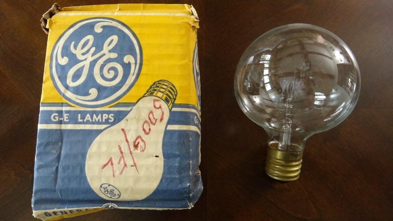 vintage ge 500watt incandescent clear flood light bulb youtube. Black Bedroom Furniture Sets. Home Design Ideas