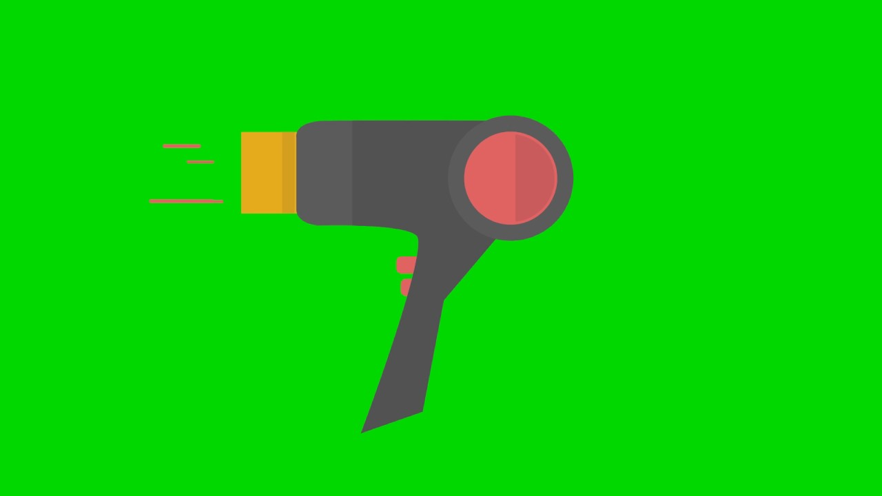 animated blow dryer green screen