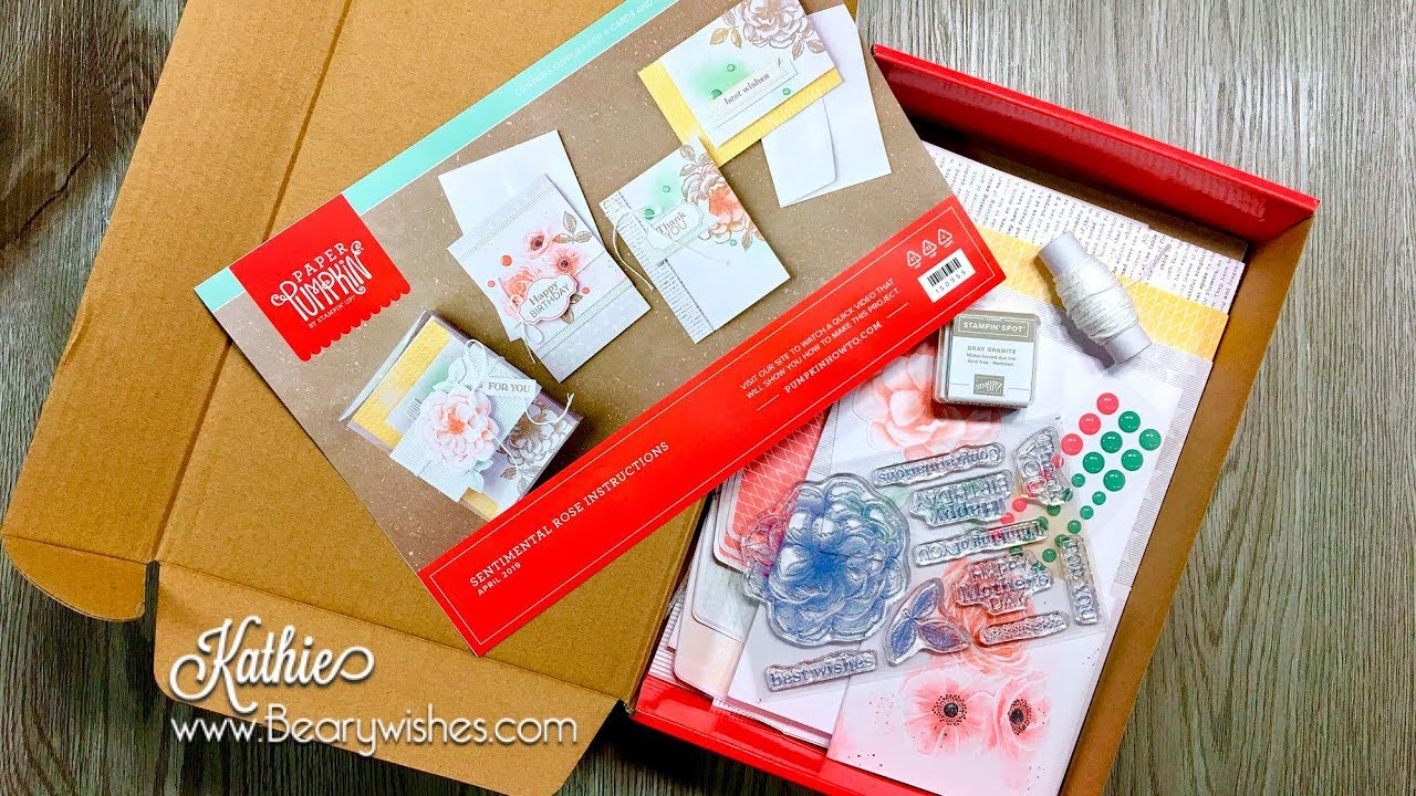 Paper Pumpkin April 2020 Card Ideas Paper Pumpkin April 2019 | Sentimental Rose Unboxing   YouTube