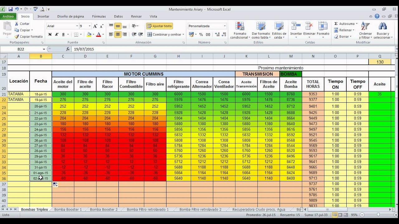 tutorial plan mantenimineto a equipos en excel