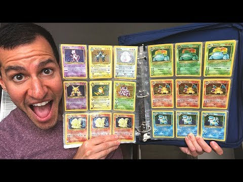 LOOKING INSIDE MY FRIENDS OLD POKEMON CARDS COLLECTION BINDER! (Full Base Set!)