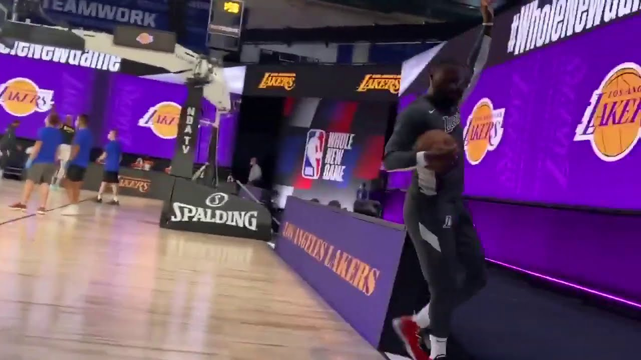 LeBron James Playing Football Pregame | Mavericks vs Lakers | July 23, 2020