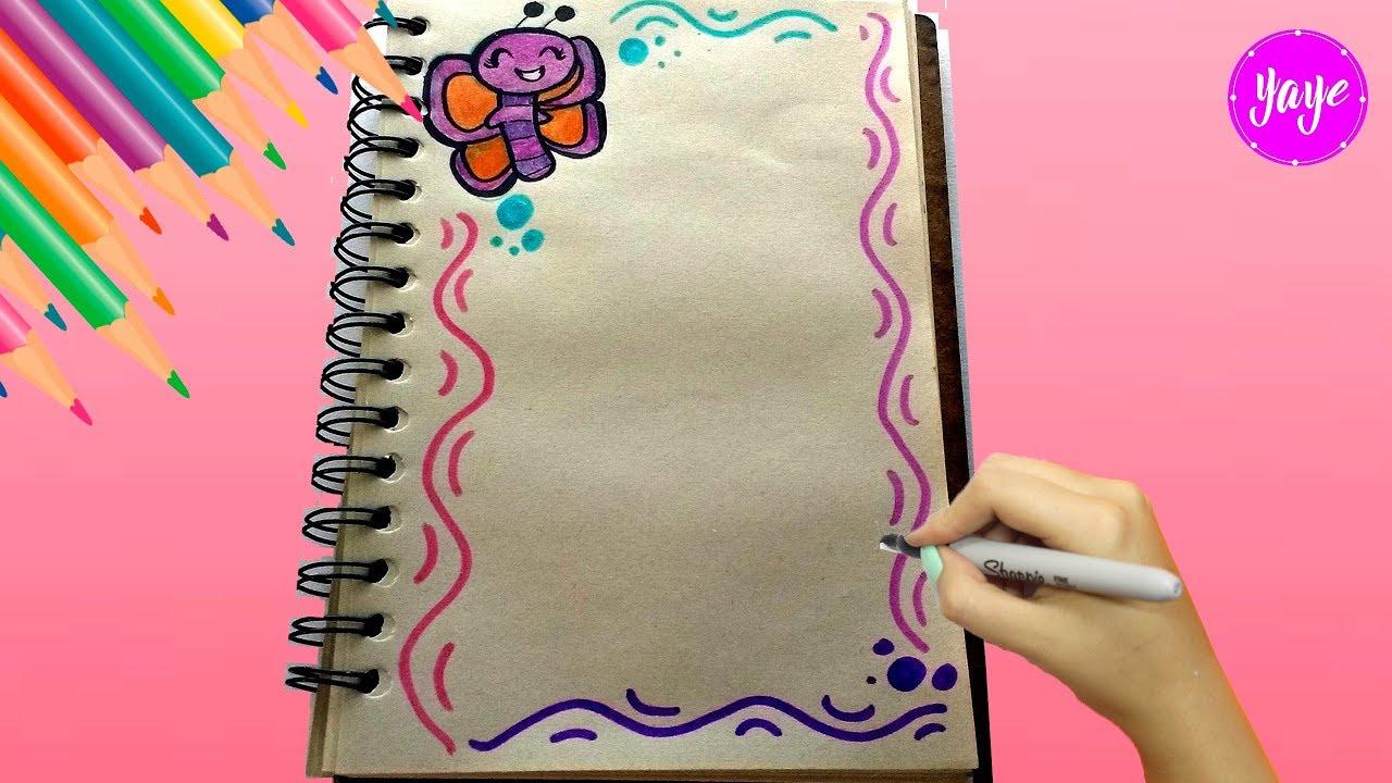 Idea Hermosa Para Marcar Cuadernos Cómo Dibujar Márgenes Dibujos Para Niños