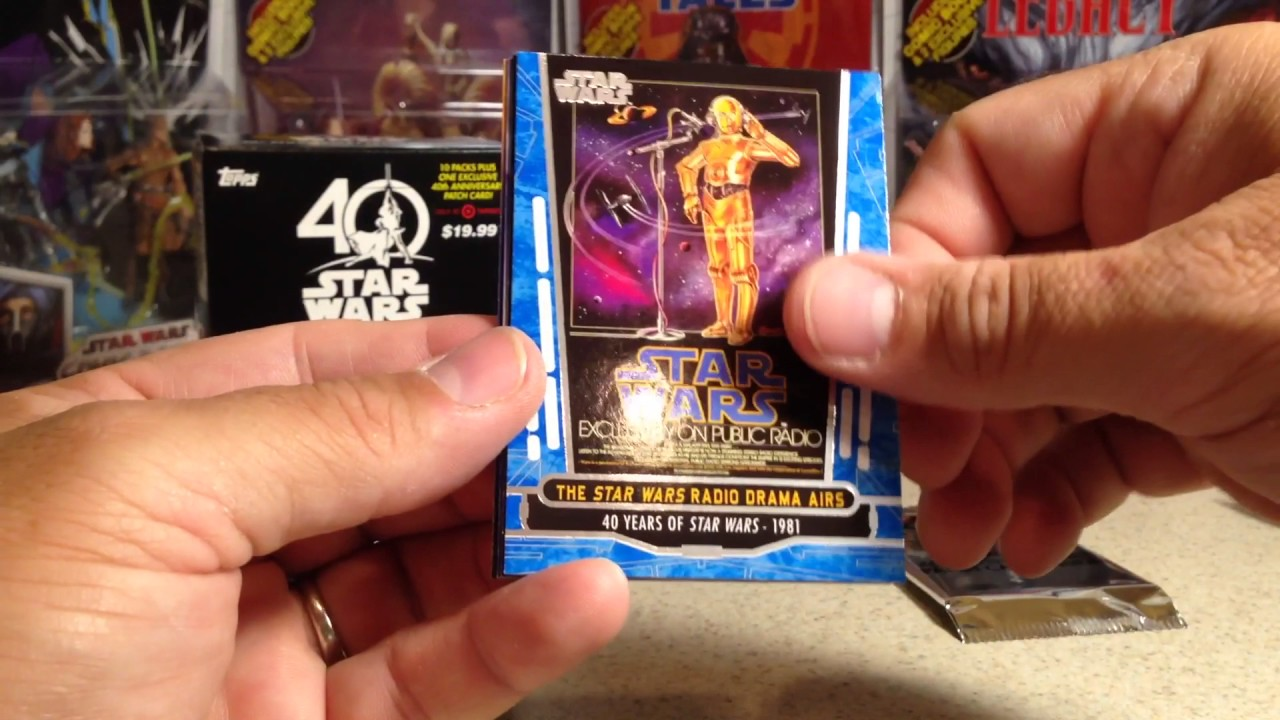 Opening a blaster box of topps star wars th anniversary cards