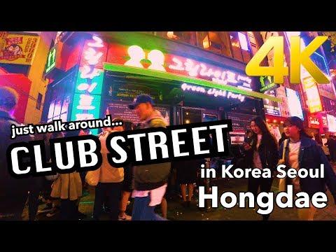【韓国旅行】Korea Seoul Hongdae CLUB STREET 4K -just walking-