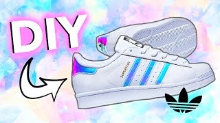 diy holographic iridescent shoes adidas inspired