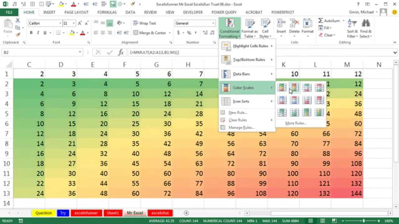 Excelisfunner, Mr Excel & excelisfun Truel 06: Multiplication Table for 4th Grade Class