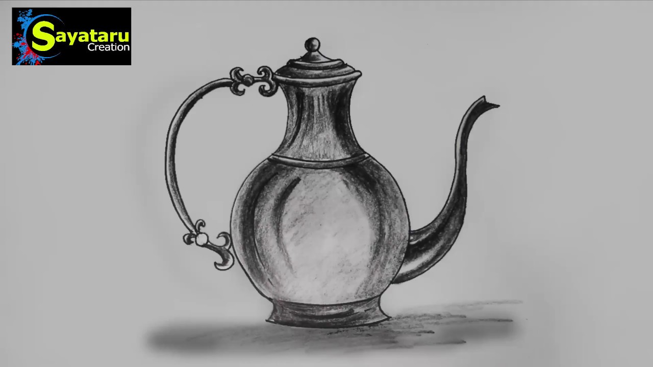 Jug drawing and sketch step by step sayataru creation