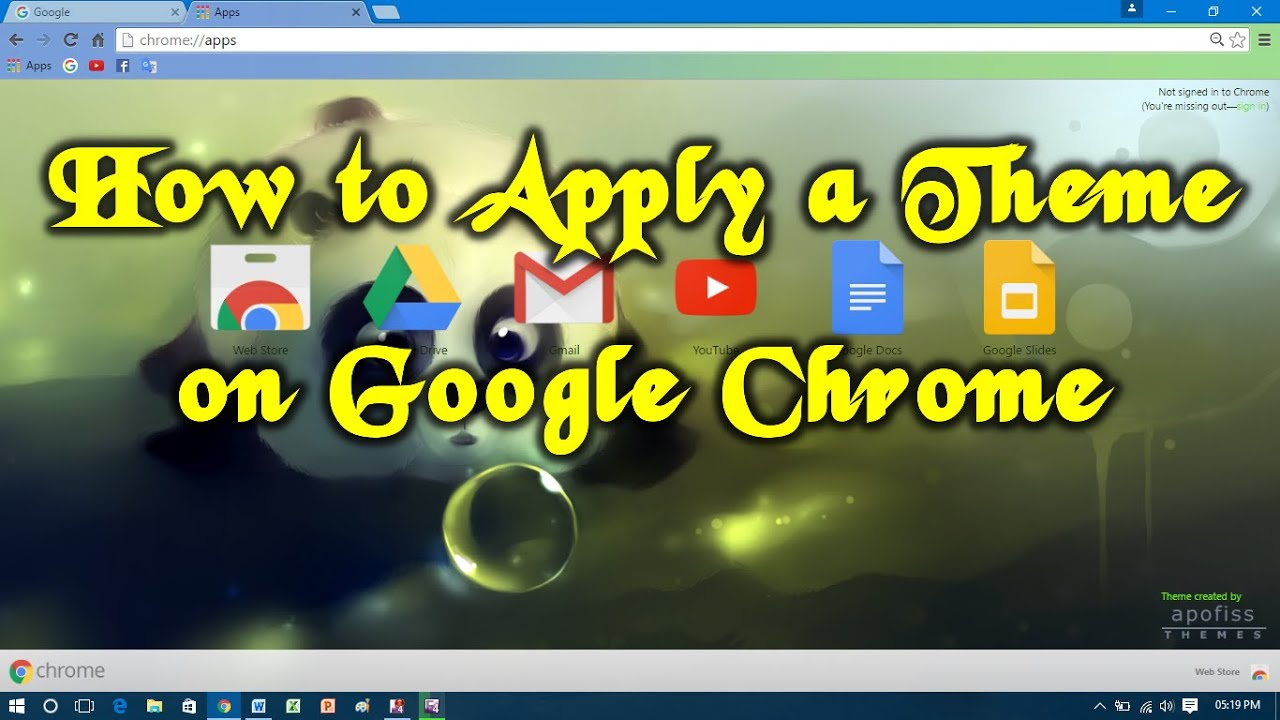 how to apply a theme on google chrome youtube
