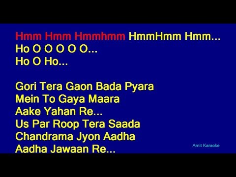 Gori Tera Gaon Bada Pyara - K. J. Yesudas Hindi Full Karaoke with Lyrics