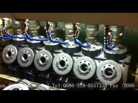 Six station oil and fuel filters bottom plate tapping machine