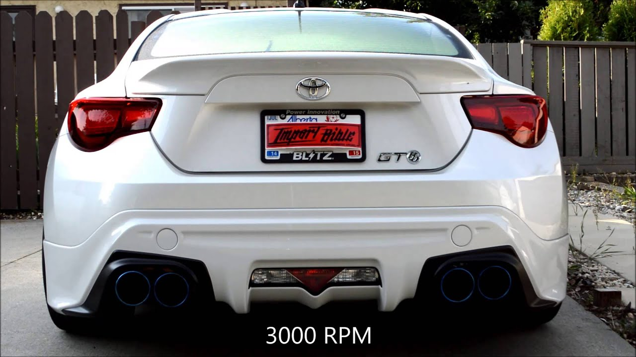 Scion Frs Turbo >> BLITZ Nur-CTi Quad Exhaust for Scion FR-S/Subaru BRZ/Toyota 86 + Tomei Titanium Front Pipe - YouTube