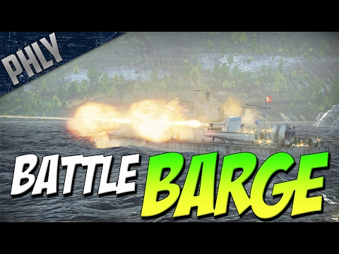 ARTILLERY BATTLE BARGE (War Thunder Naval Forces Gameplay)