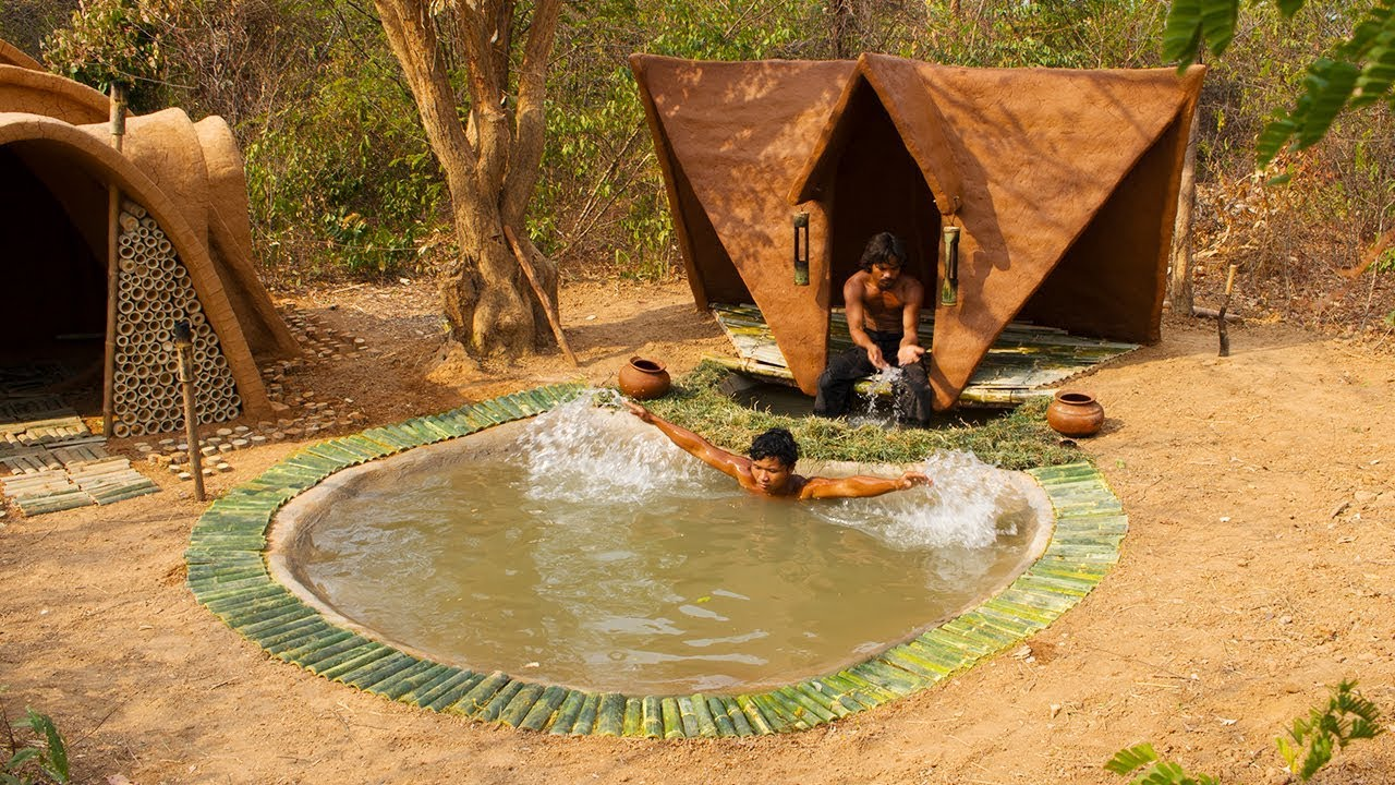 Build Resort House on the swimming pool in the forest   Primitive Technology , Building Skill