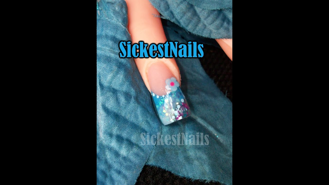 ❀Pink & Blue Acrylic Nails / Diseño de Uñas Rosa y Azul ...