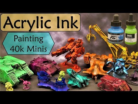Airbrush Warhammer 40K Minis With Acrylic Artist Inks! Liquitex And Daler Rowney FW Inks