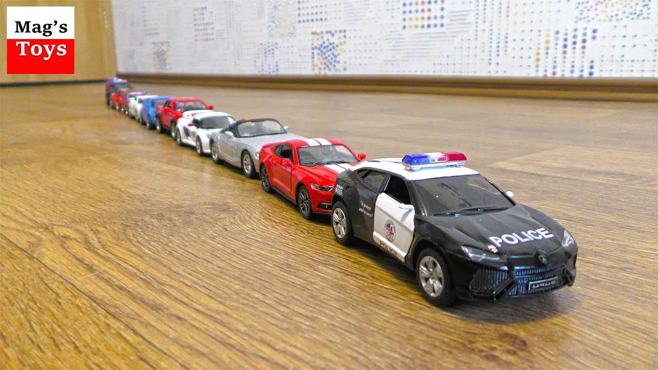cars for kids toy cars on parade driving in one line
