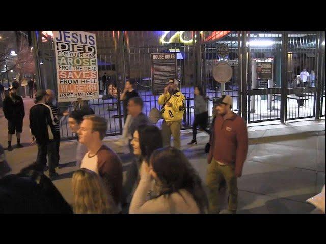 Street Preaching - Colorado Rockies Game - Downtown Denver - Kerrigan Skelly of PinPoint Evangelism