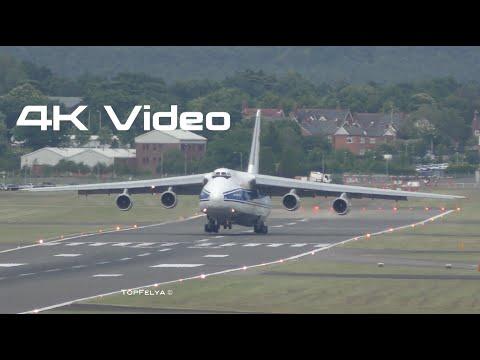 An-124 super short landing Antonov arriving to Farnborough 2016 Airshow