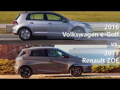 2016 volkswagen e golf vs 2017 renault zoe comparison youtube. Black Bedroom Furniture Sets. Home Design Ideas
