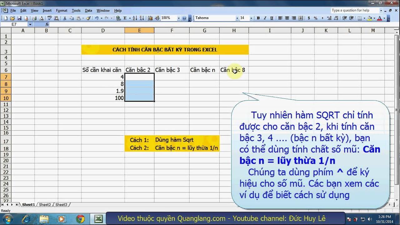 Cách tính căn bậc bất kỳ trong Excel