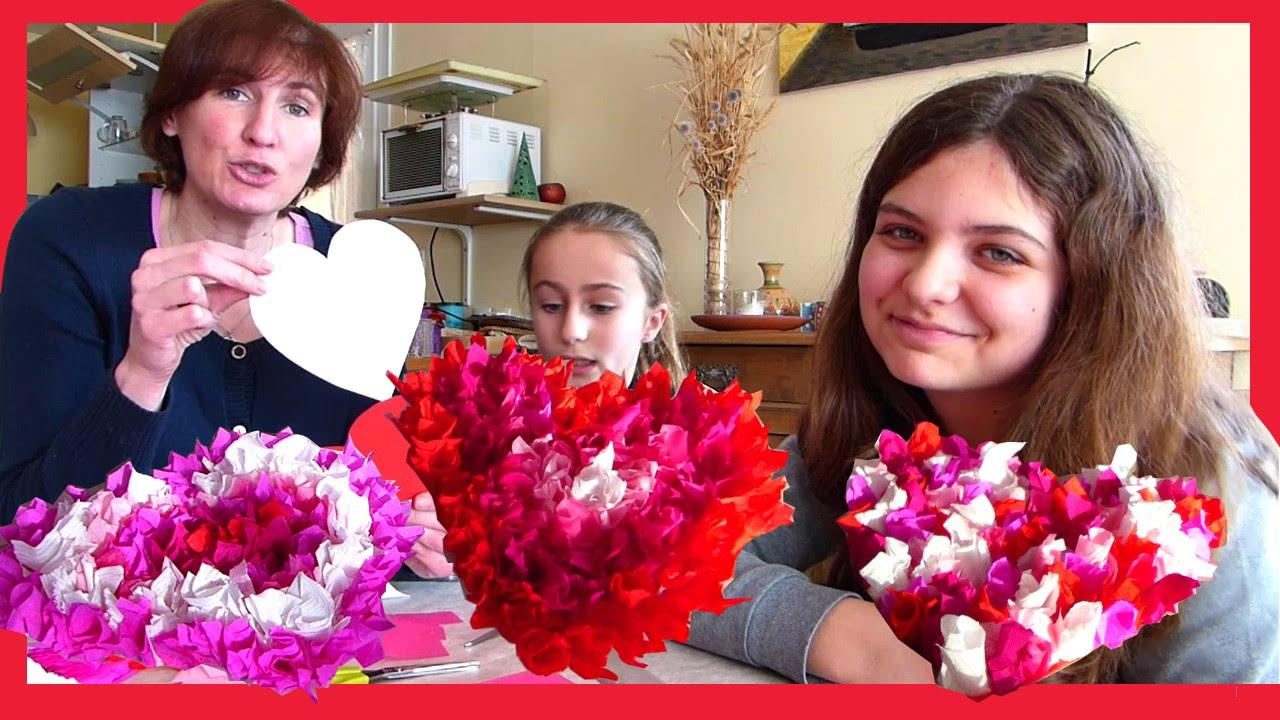 Coeur en papier crepon saint valentin youtube - Activite avec papier crepon ...