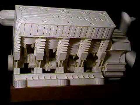 Papercraft The most complex V8 Engine paper model in the world