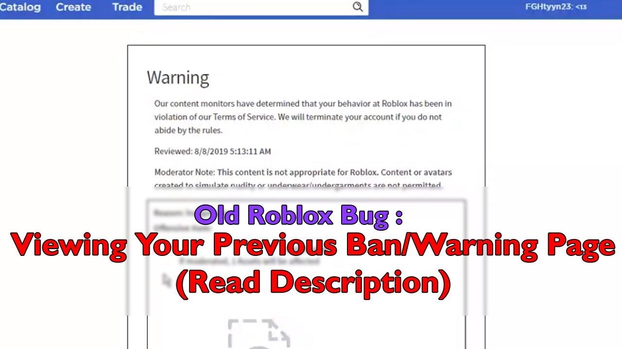 Roblox Warning/Ban page URL error