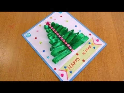 Easy Christmas Tree Card With 'Satin Ribbon' ~ DIY X'mas Card
