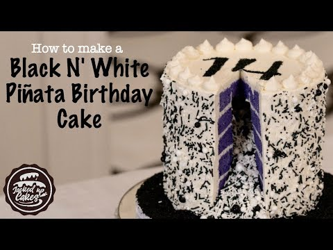 How to make a BLACK N' WHITE PIÑATA BIRTHDAY CAKE | Jacked Up Cakes with Jack Rogers