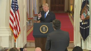 Donald Trump spars with media at post-election press conference
