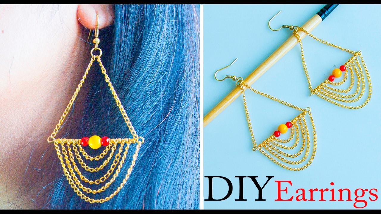How to make easy earrings | DIY stud earrings | Jewelry making ...