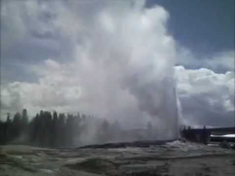 Old Faithful Geyser Eruption and Runoff Channel - Yellowstone National Park